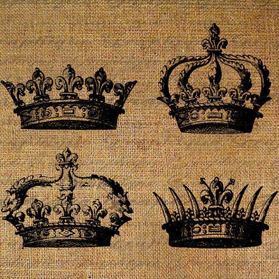 coronita arpillera Crowns Crown Royal Queen King Digital Image Download Transfer To Pillows Tote Tea Towels Burlap No. 2399