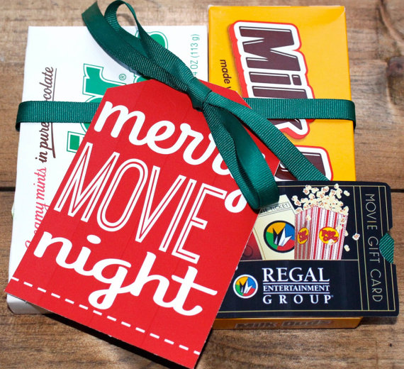 Give the gift of a Merry Movie Night! Personalized and printed jumbo Christmas gift tags - a great secret santa, yankee swap, and teacher gift!