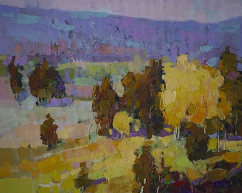 Fall Landscape oil Painting on Canvas Original Signed Handmade