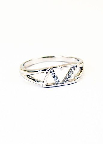 Delta Zeta Sterling Silver Ring set with Lab-created Diamonds