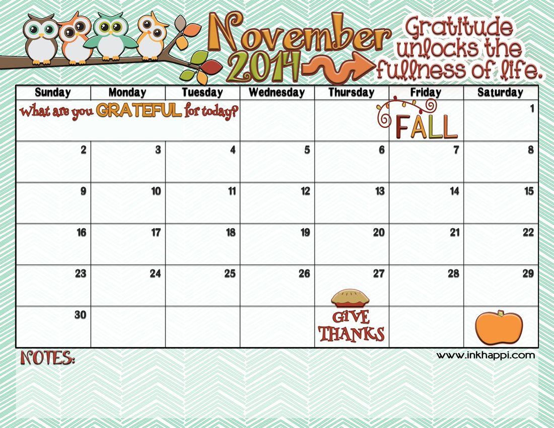 November 2014 Calendar Is Here Monthly Calendar Printable