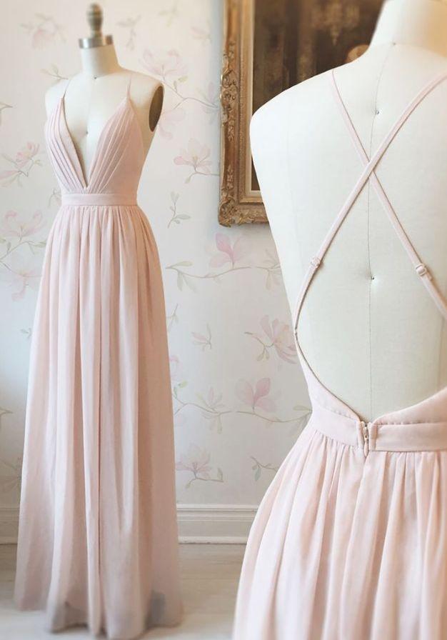 Einfache Rosa Chiffon Langes Abendkleid Mit Kreuz Zuruck Vestidos De Fiesta Vestidos De Fiesta Lindos Vestidos