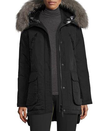 Long+Fur-Trimmed+Hooded+Puffer+Coat,+Black+by+Derek+Lam+10+Crosby+at+Neiman+Marcus.