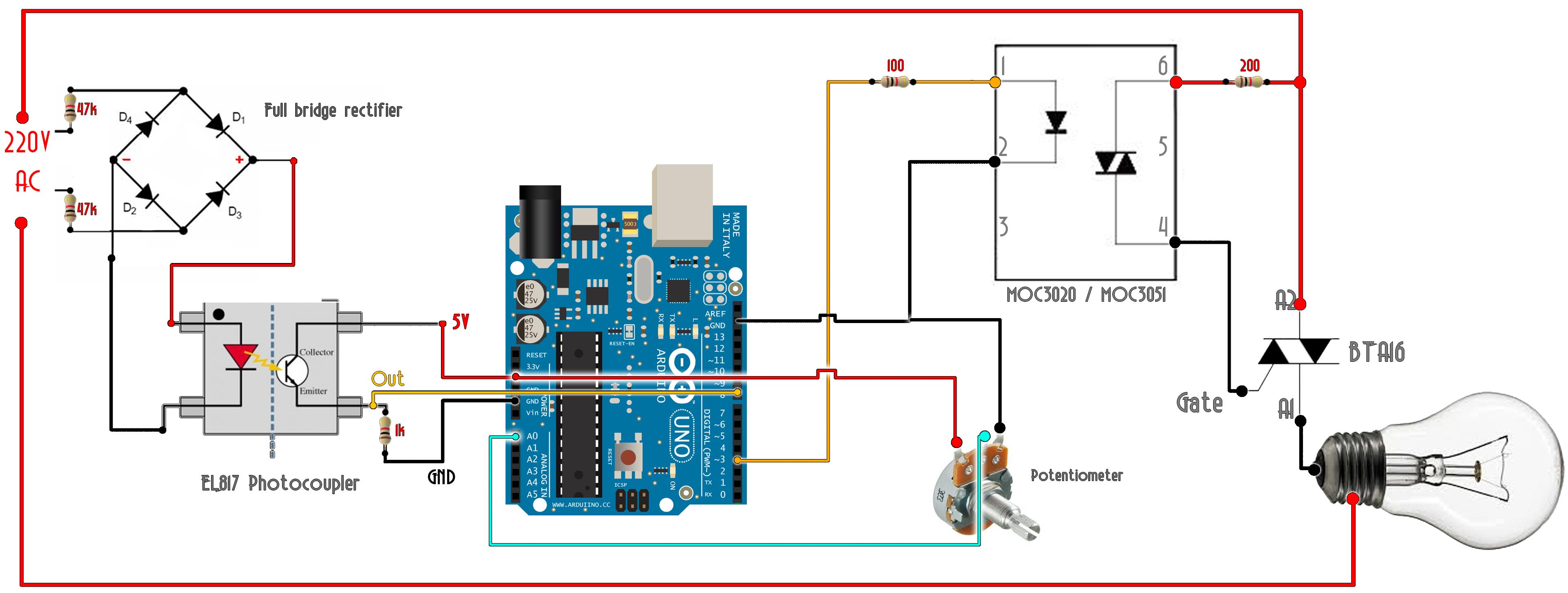 ac triac dimmer arduino schematic arduino in 2019 arduino