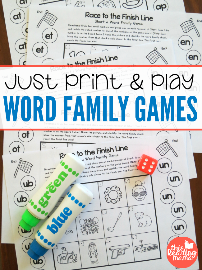 Print and Play Word Family Games Word families, Word