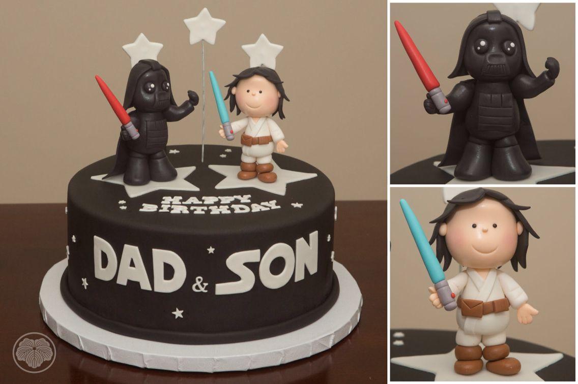 Star Wars Cake With Dark Haired Luke And Beefcake Darth Vader