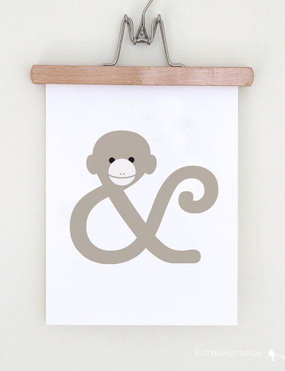 Monkey Ampersand Animal Typographic Art by flutterflutterstudio, $15.50