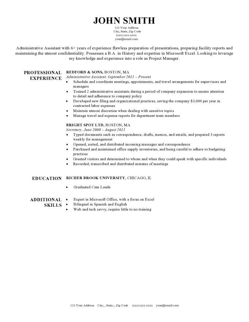 Resume Templats Secretary Resume Example Free Template Microsoft Word Harvard Blue