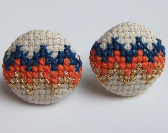 cross stitch chevron earrings