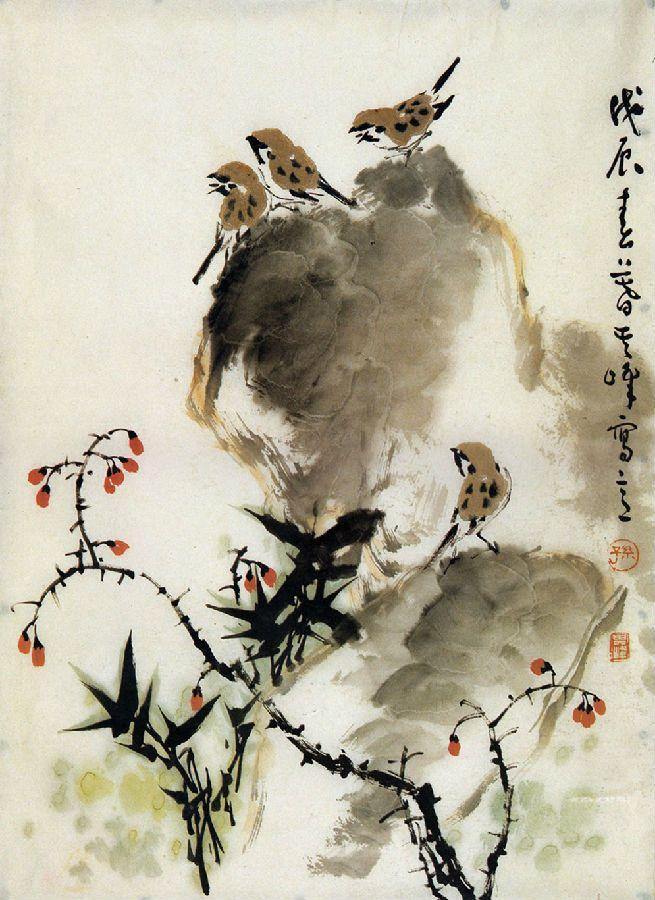 Mastersunqifeng Chinesepaintingsparrow Orientalbrushpainting