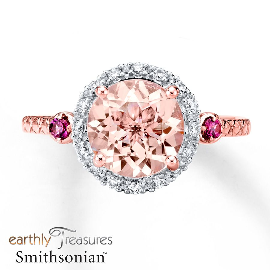 Morganite Ring 18 ct tw Diamonds 14K Rose Gold Morganite ring