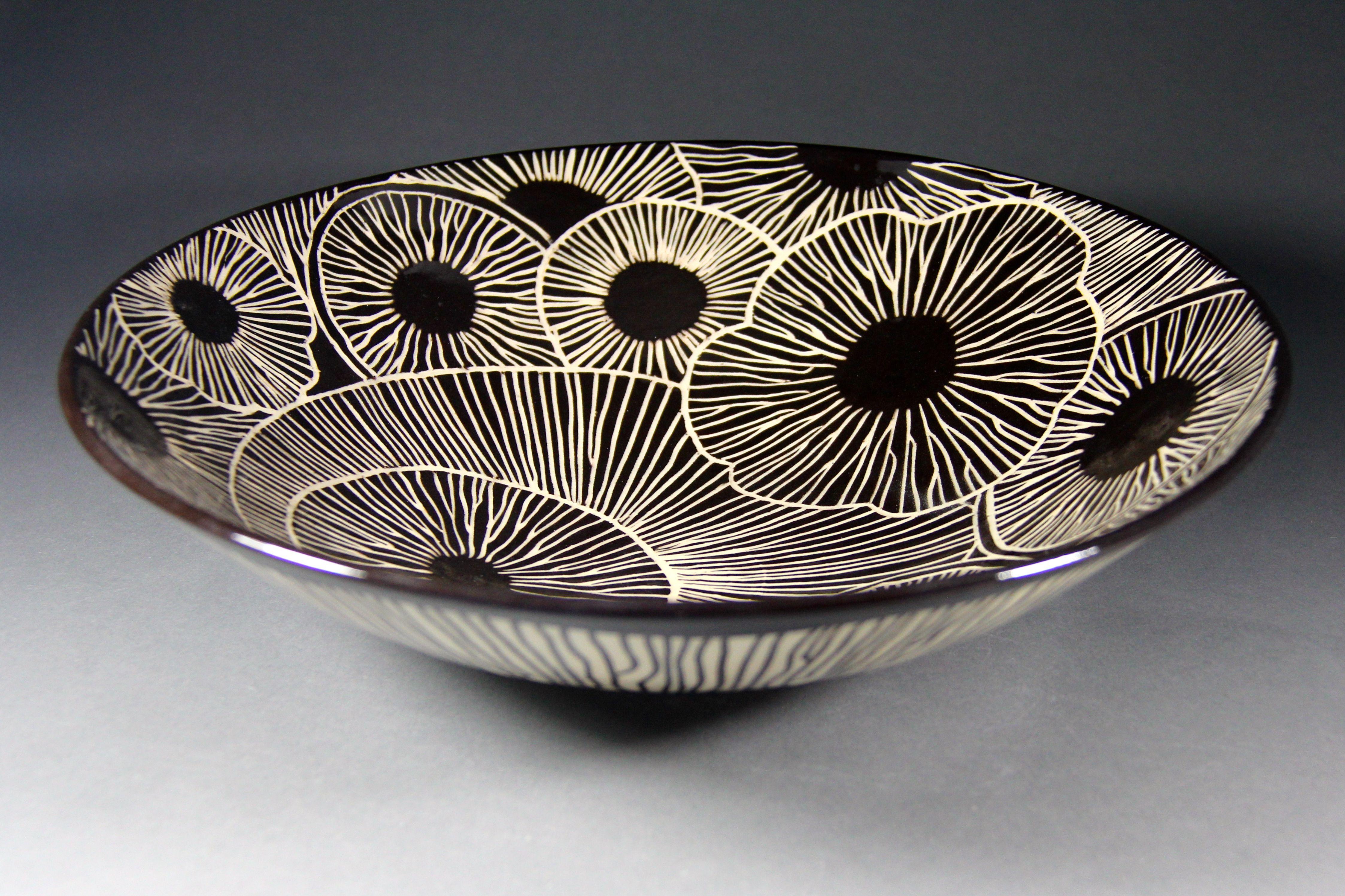 Marise Fransolino Sgraffito Bowl Velvet Underglaze Sgraffito With Hf 9 Zinc Free Clear Sgraffito Pottery Ceramic Pottery