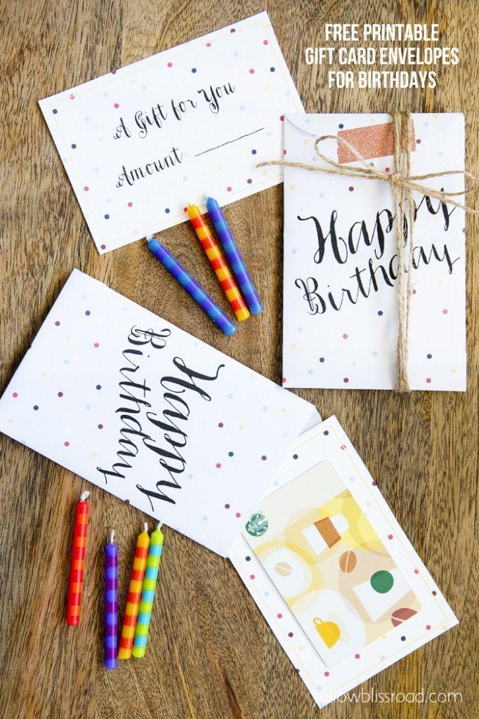 Free Printable Birthday Gift Card Envelopes Birthday Gift Cards