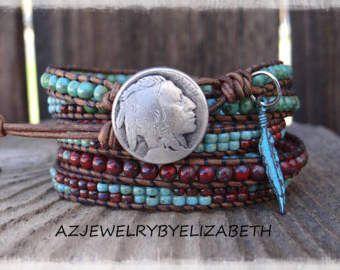 Seed Bead Leather Wrap Bracelet/ Leather by AZJEWELRYBYELIZABETH
