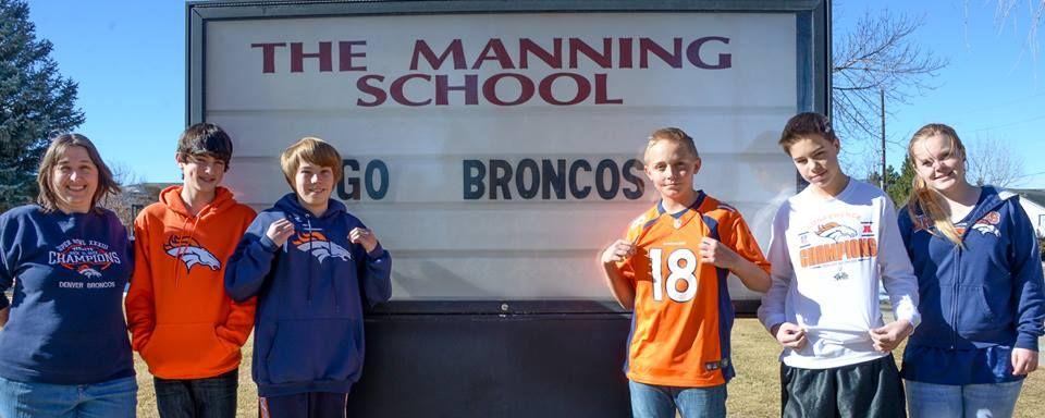 Driving to SB48, we stopped in Manning, Iowa yesterday. How about a shout out today to the Manning School in Golden, where #Manning4Manning means they're going all out 4 the Broncos! After all, the 8th graders there now are in the class of '18!
