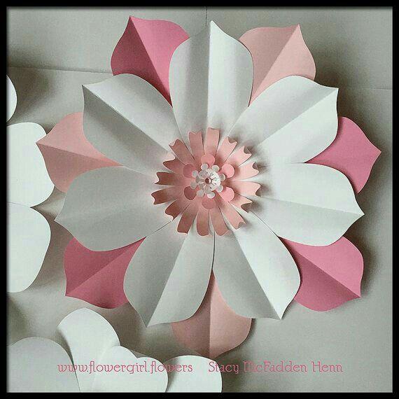 Pink White Paper Flower Paper Flowers Diy Paper Flowers Big
