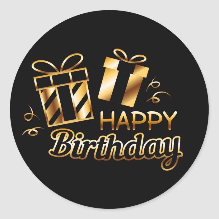 Happy Birthday Black Gold 4 S Classic Round Sticker Zazzle Com Happy Birthday Black Happy Birthday Printable Happy Birthday Calligraphy