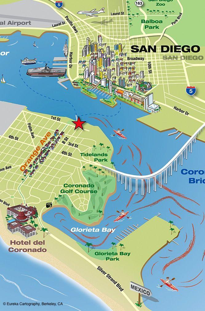 coronado island kayak map with san go in the background
