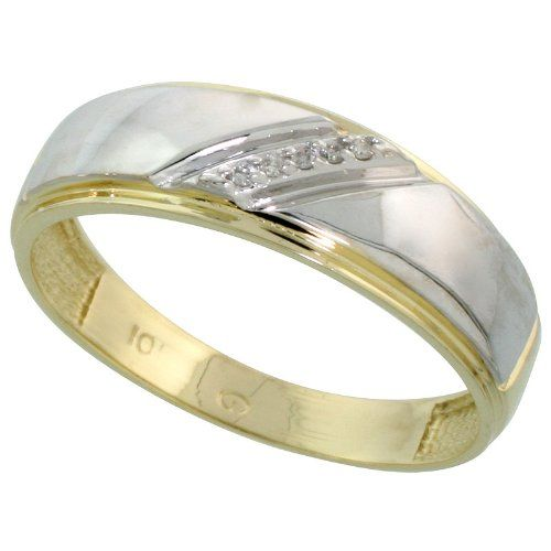 This Stunning Man S Band Is Crafted From Solid 10 Karat Gold And Set With Genuin Mens Diamond Wedding Bands Diamond Wedding Bands Sterling Silver Wedding Rings
