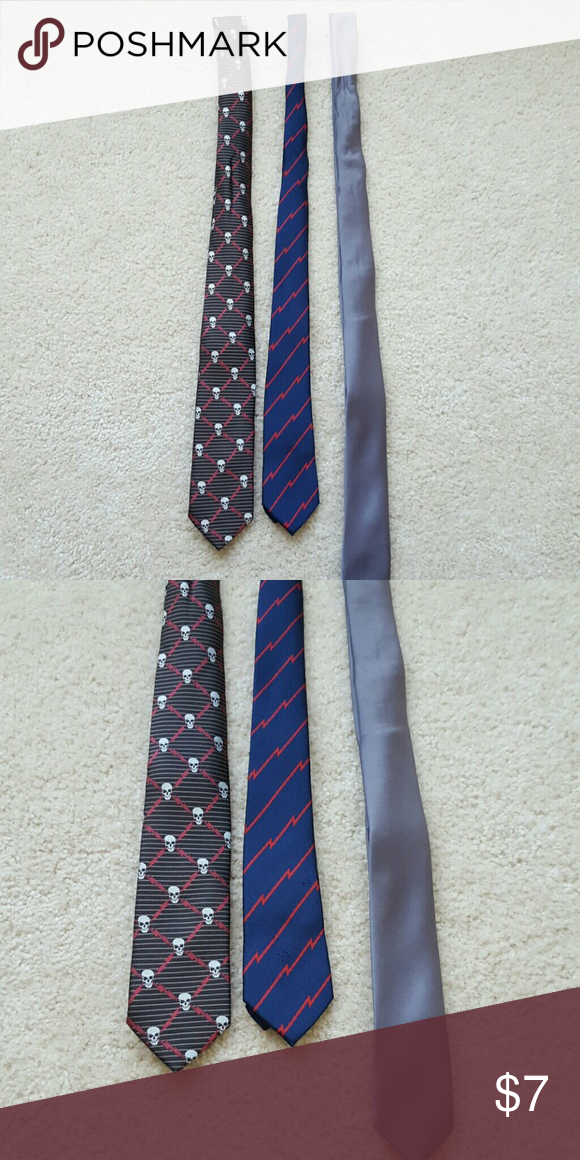 fa6334cea401 Three boys ties Skull (M)and blue (L) is Old Navy but they look the same.  Blue is thinner. Accessories Ties