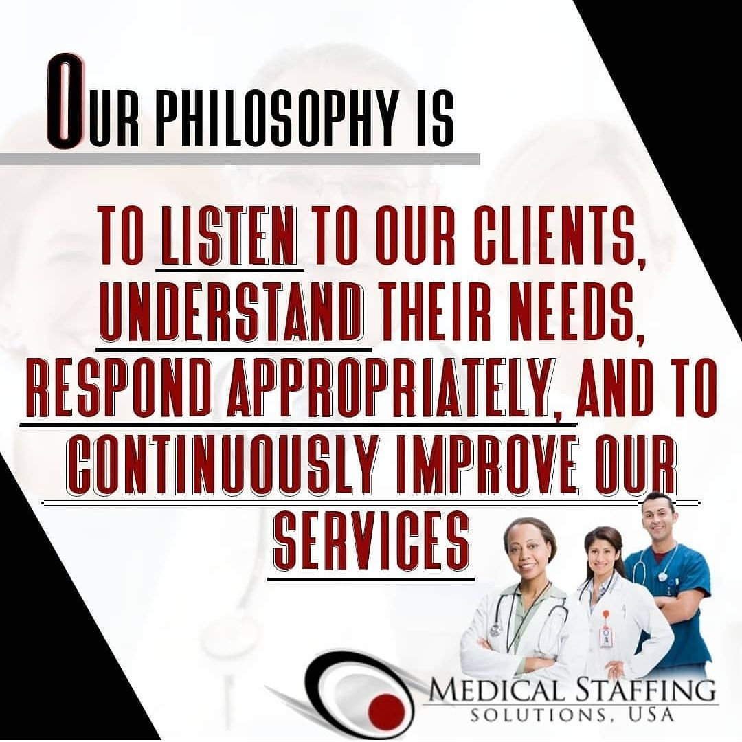 Medical Staffing Solutions Usa Has Award Winning Customerservice And A Business Philosophy That Caters To You Me Medical Solutions