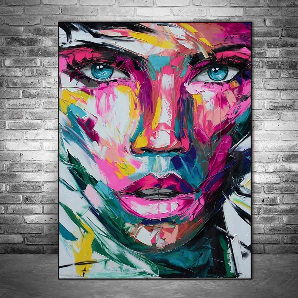 Abstract colorful face canvas paintings and prints modern