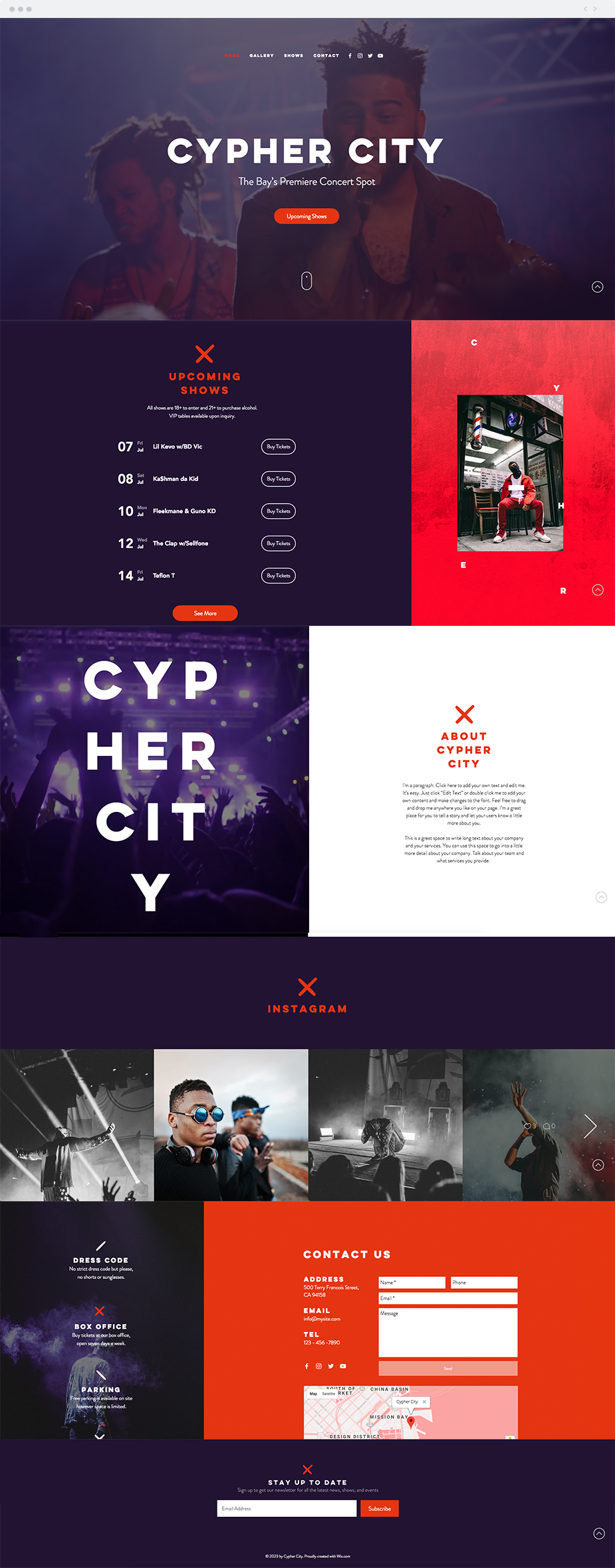 Concert Venue | Website Template Bold and dynamic, the hip-hop ...