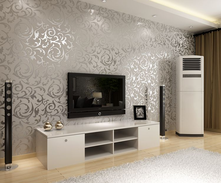 european-style golden silver simple european pvc wallpaper bedroom