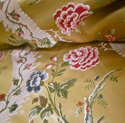"""11.5 yds 110"""" Extra Wide Designer Floral Satin Lampas Style Brocade Upholstery & Drapery Fabric"""