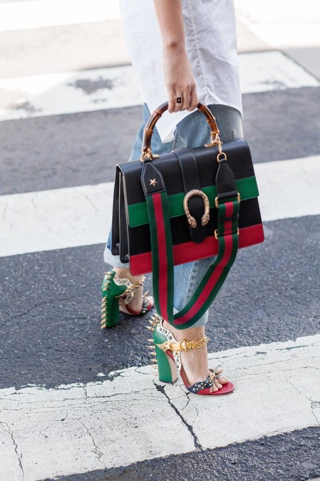 Gucci Dionysus Stripe Gucci Spike Heels