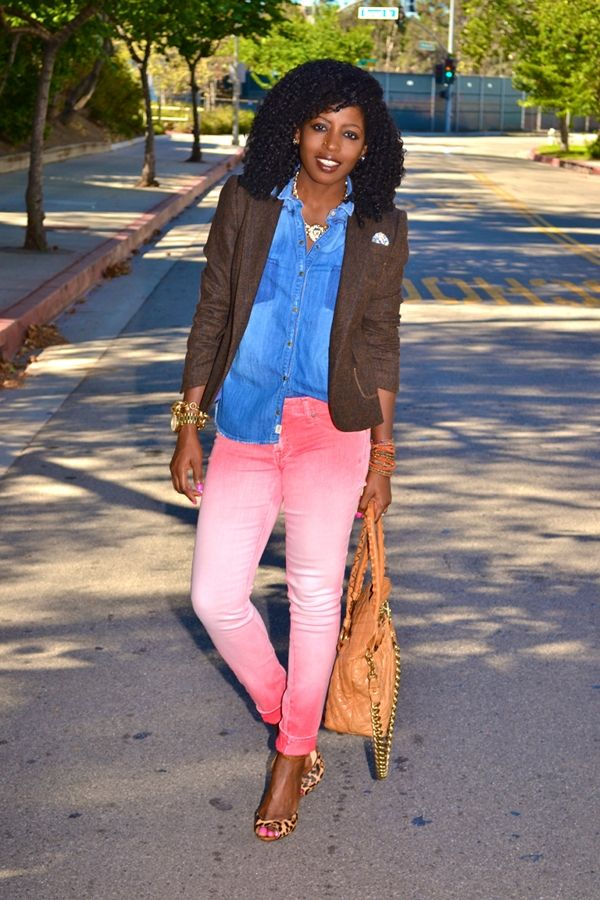 Mocha Elbow Patch Blazer + Sleeveless sky chambray Shirt + coral/white Ombré Skinnies, tangelo tote