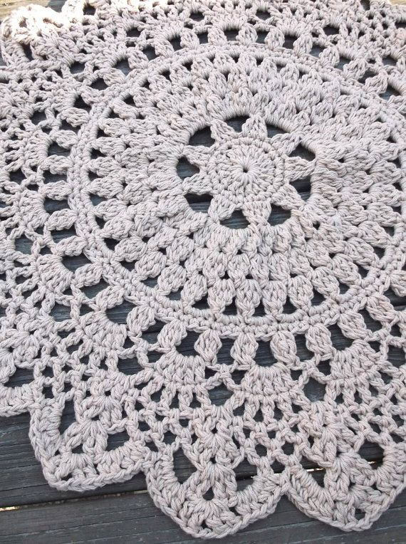 Dark Linen Jute Or Tan Crochet Doily Rug In 30 Circle Lacy Pattern Non