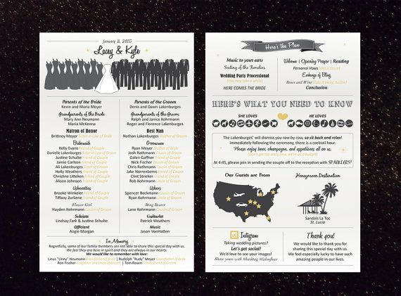 Wedding Ceremony Programs Digital File Icons Fun Creative