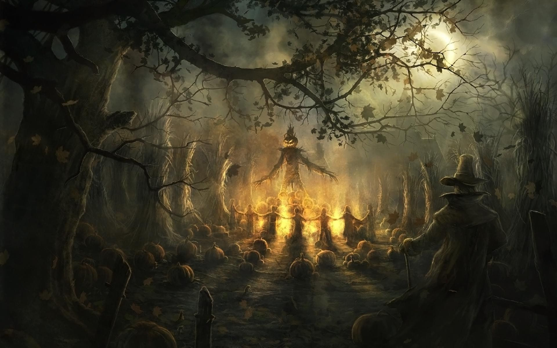 Halloween Scarecrow Pumpkin Night Bonfire Jpg 1920 1200 Halloween Images Halloween Backgrounds Halloween Desktop Wallpaper