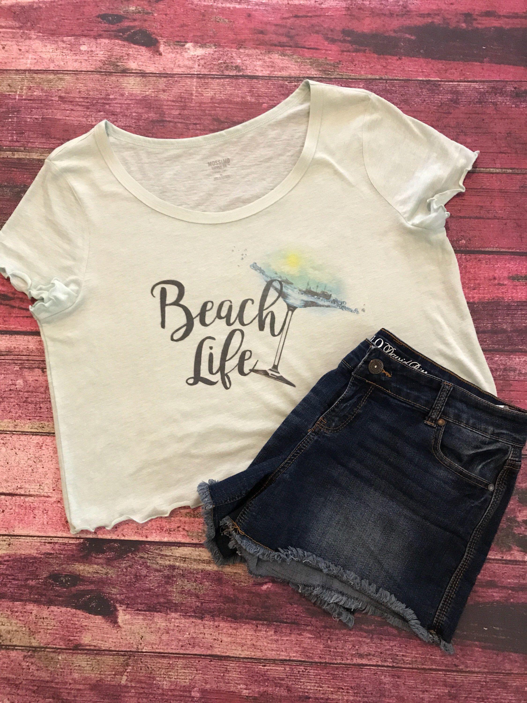 8d60d96f49e Yoga Clothing · Beach Tops · Crop top. Vacation shirt. Beach Shirt. Summer  shirt. Beach Life. XL