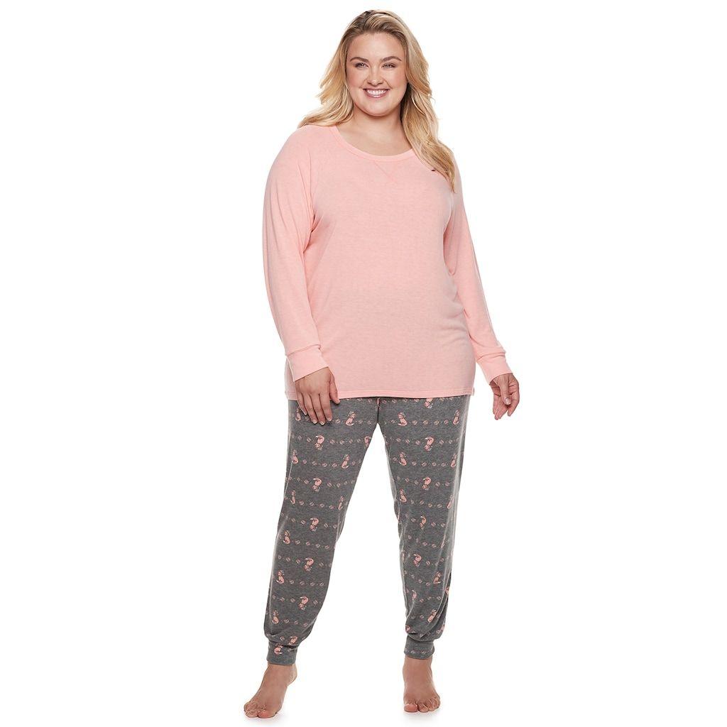 "39b270875d Plus Size SONOMA Goods for Lifeâ""¢ 2-piece Raglan Tee   Pants Pajama Set"