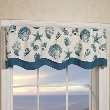 Shells Coastal Layered Window Valance