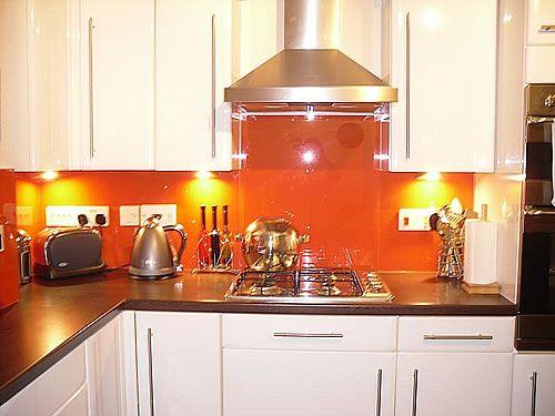 Kind Of What My Kitchen Will Look Like Orange Splash Back White