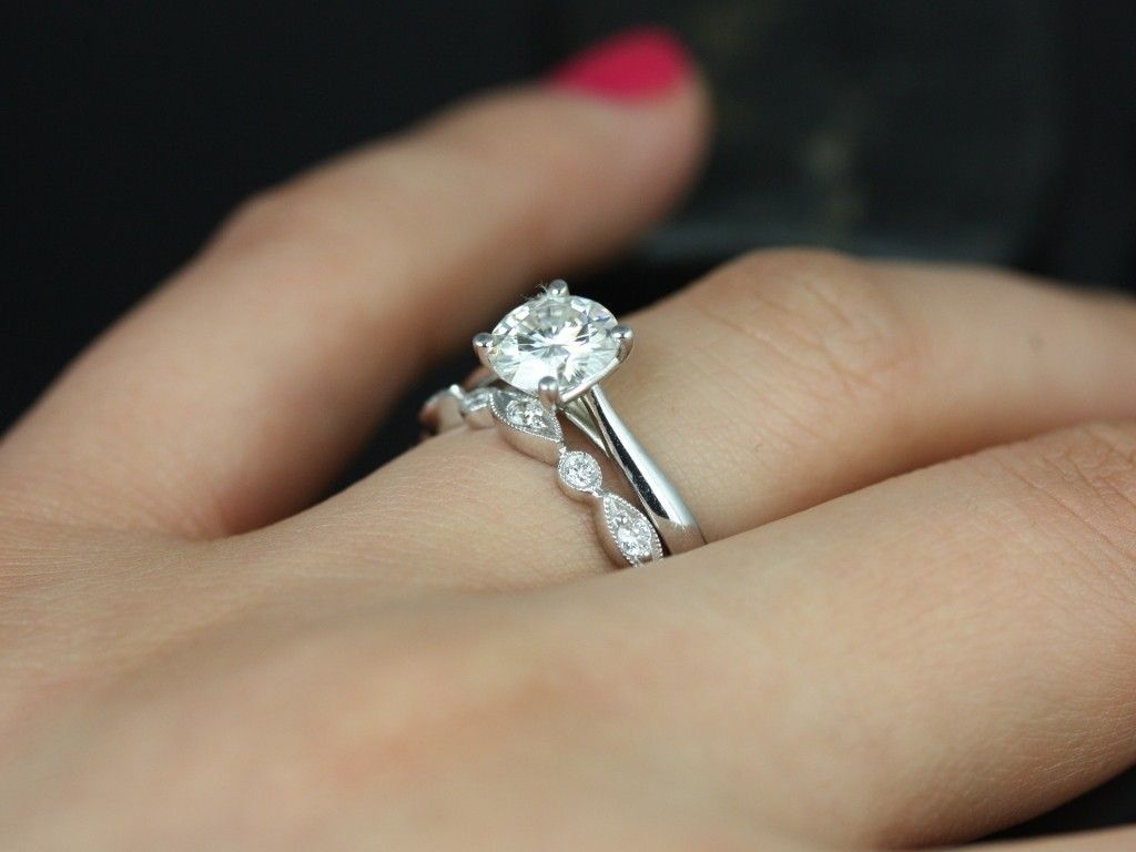 Solitaire Ring Either Circle Or Cushion Cut On Cathedral Setting With Solid  Band And Creative Diamond