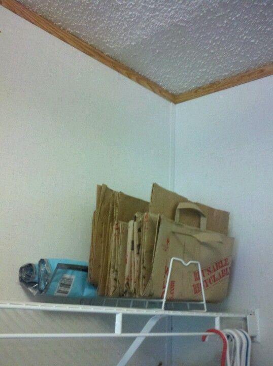 Paper bag storage, repurposed a wire plate rack. | Storage ...