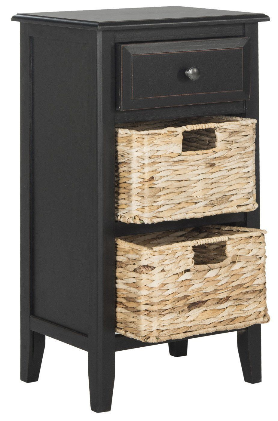 Everly Drawer Side Table Distressed Black