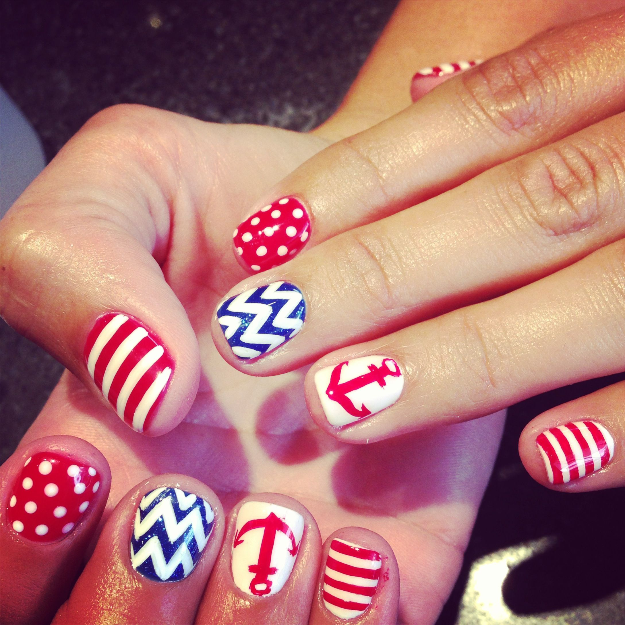 Shellac gel color nails with anchor, chevron , polka dot design ...