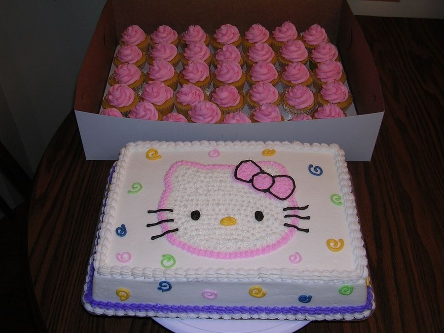 Hello Kitty sheet cake and cupcakes Childrens Birthday Cakes