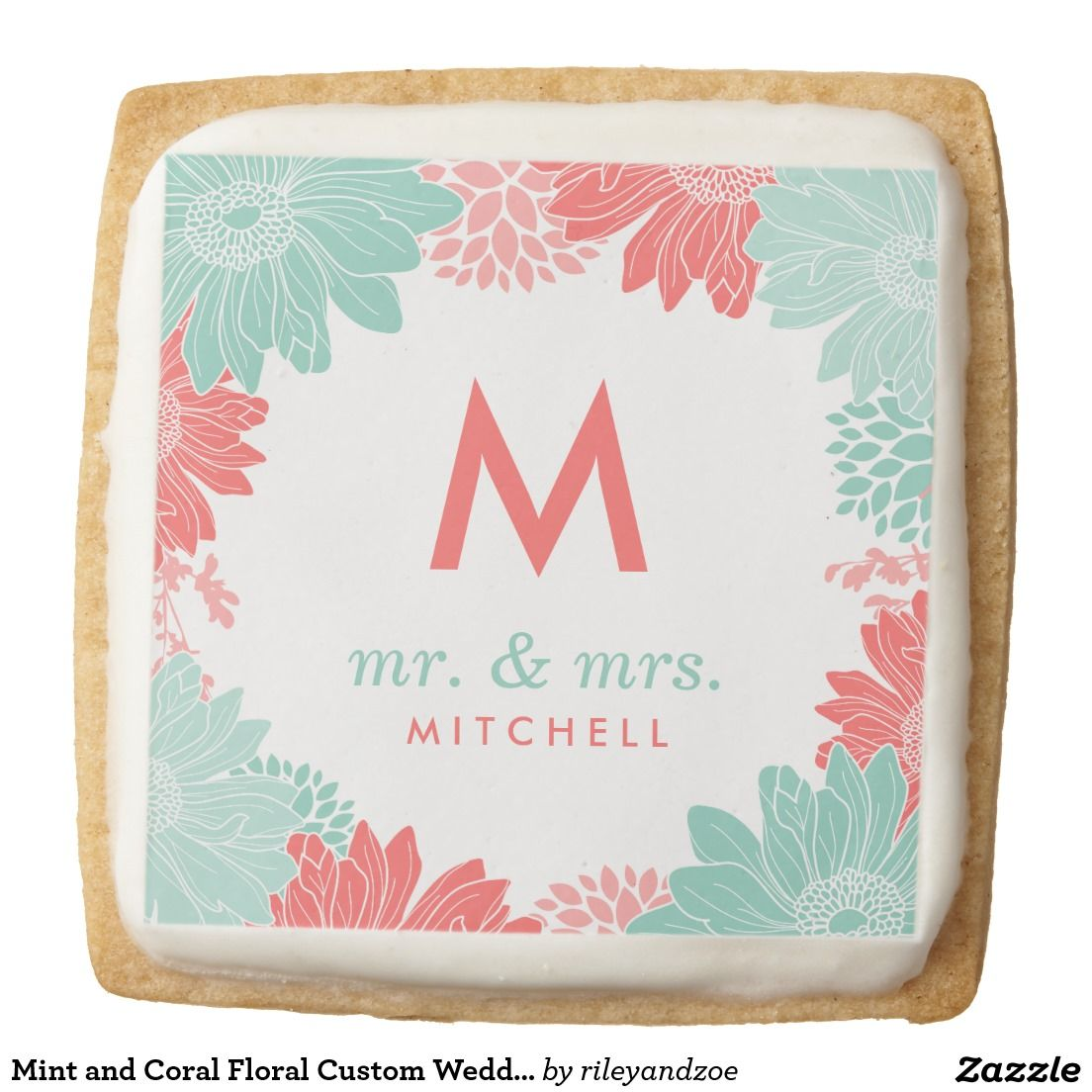 Mint and Coral Floral Custom Wedding Favor Square Shortbread Cookie ...