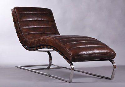 Relaxliege Design design relax liege corona vintage leder sofa antik chrom