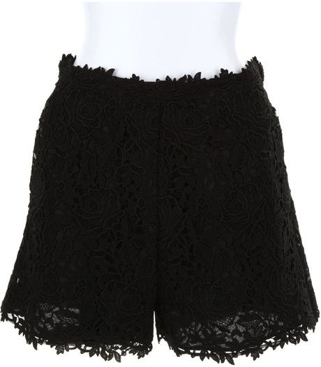 Valentino Black Guipure Lace Shorts in Cotton in Black - Lyst