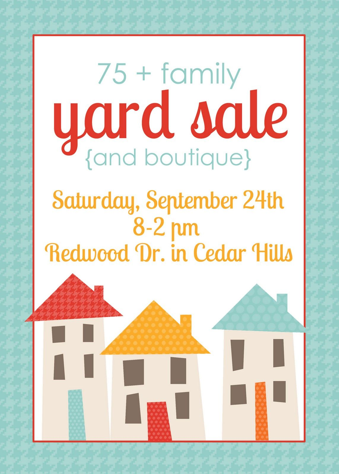 Huge  Family Yard Sale Bake Sale Flyer Very Pretty And Directs