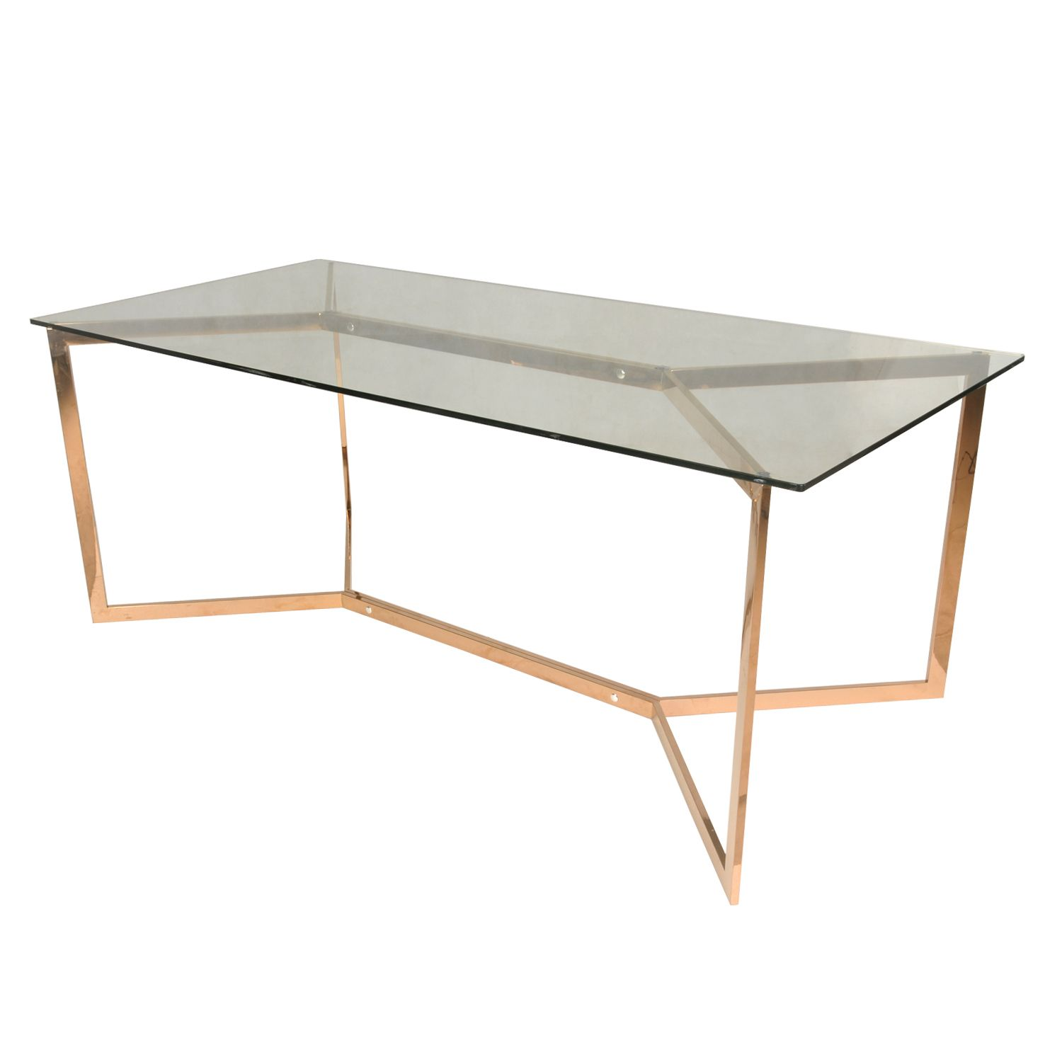 Campbell KD Dining Table In Rose Gold Frames