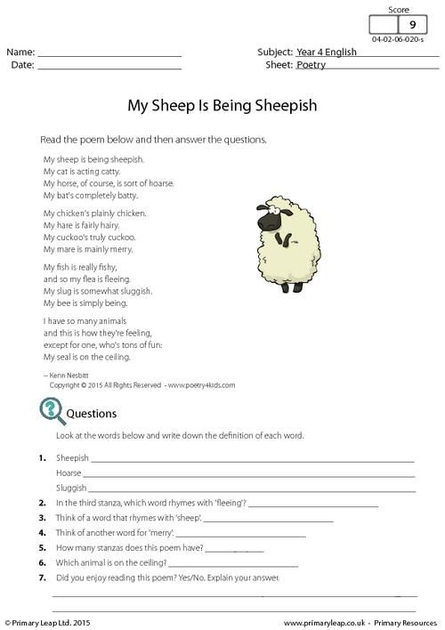 poetry my sheep is being sheepish worksheet english printable worksheets. Black Bedroom Furniture Sets. Home Design Ideas
