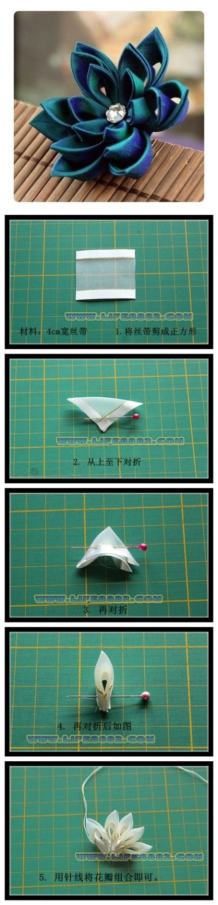 Tutorial For A Ribbon Lotus Flower Crafts Fair Craft Sales Items